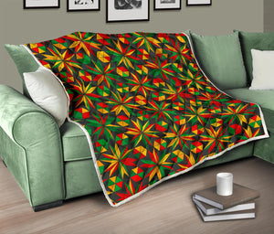 Abstract Geometric Reggae Pattern Print Quilt GearFrost
