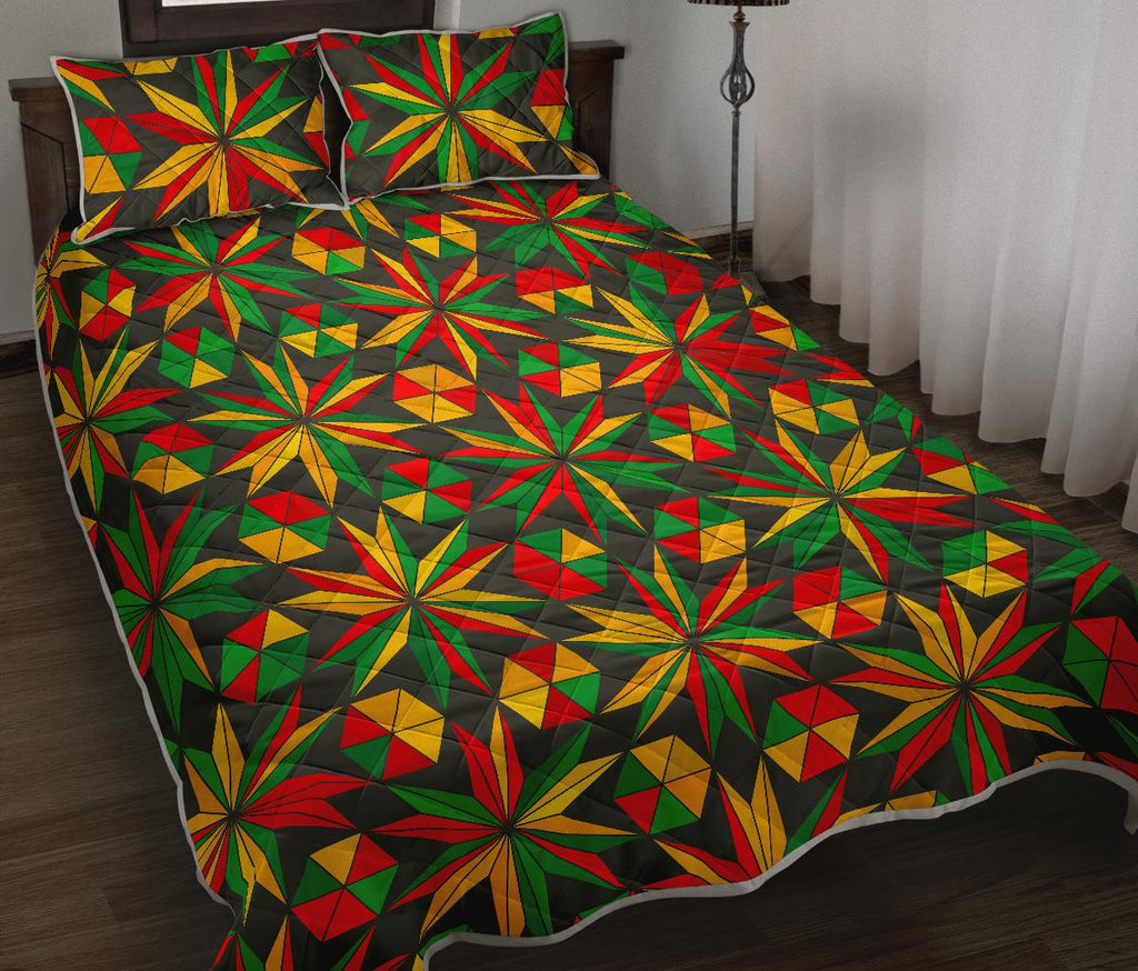 Abstract Geometric Reggae Pattern Print Quilt Bed Set GearFrost