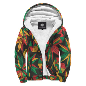 Abstract Geometric Reggae Pattern Print Sherpa Lined Fleece Hoodie GearFrost