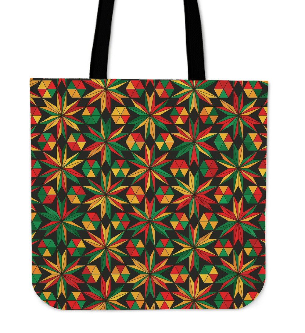 Abstract Geometric Reggae Pattern Print Tote Bag GearFrost