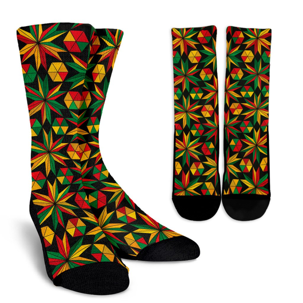 Abstract Geometric Reggae Pattern Print Unisex Crew Socks GearFrost