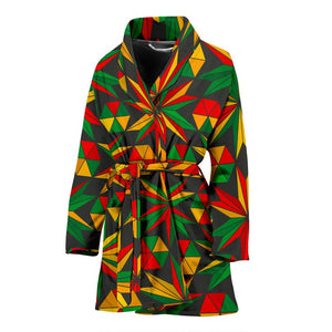 Abstract Geometric Reggae Pattern Print Women's Bathrobe GearFrost