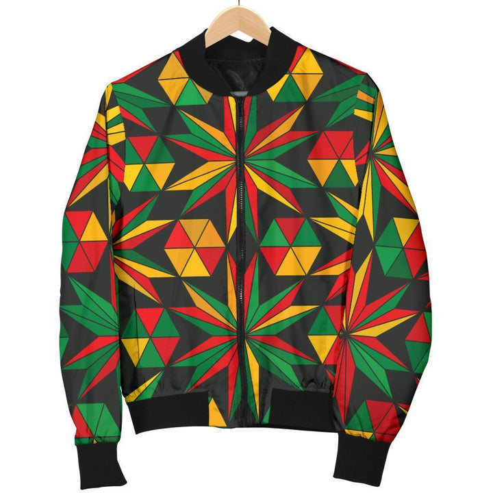 Abstract Geometric Reggae Pattern Print Women's Bomber Jacket GearFrost