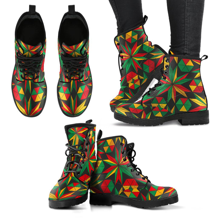 Abstract Geometric Reggae Pattern Print Women's Boots GearFrost