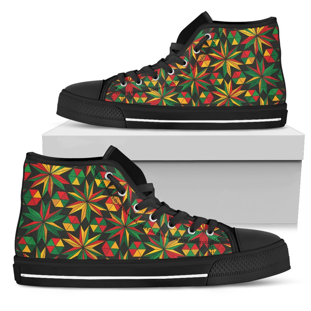 Abstract Geometric Reggae Pattern Print Women's High Top Shoes GearFrost