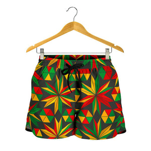 Abstract Geometric Reggae Pattern Print Women's Shorts GearFrost