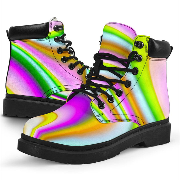 Abstract Holographic Liquid Trippy Print All Season Boots GearFrost