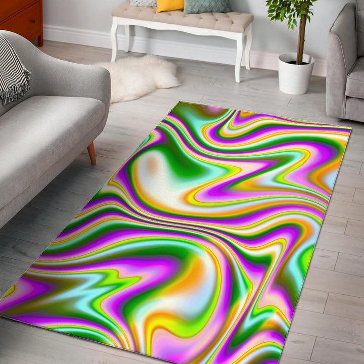 Abstract Holographic Liquid Trippy Print Area Rug GearFrost