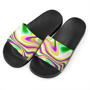 Abstract Holographic Liquid Trippy Print Black Slide Sandals GearFrost
