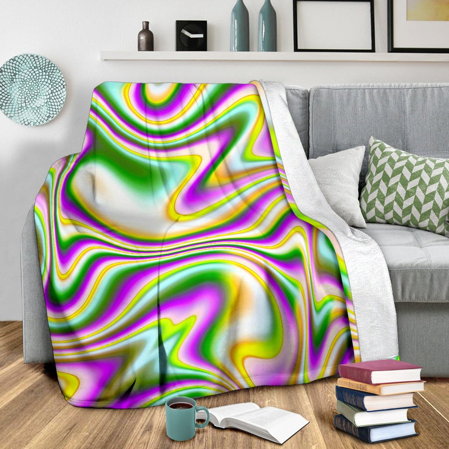Abstract Holographic Liquid Trippy Print Blanket GearFrost