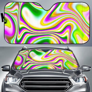 Abstract Holographic Liquid Trippy Print Car Sun Shade GearFrost