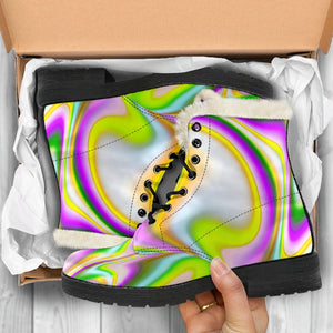 Abstract Holographic Liquid Trippy Print Comfy Boots GearFrost