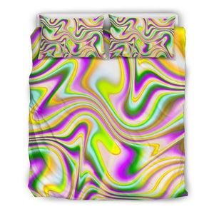 Abstract Holographic Liquid Trippy Print Duvet Cover Bedding Set GearFrost