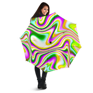 Abstract Holographic Liquid Trippy Print Foldable Umbrella GearFrost