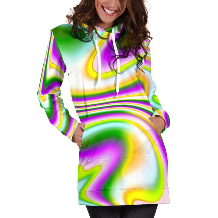 Abstract Holographic Liquid Trippy Print Hoodie Dress GearFrost