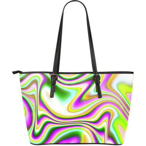 Abstract Holographic Liquid Trippy Print Leather Tote Bag GearFrost