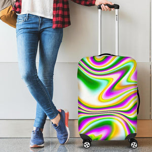 Abstract Holographic Liquid Trippy Print Luggage Cover GearFrost