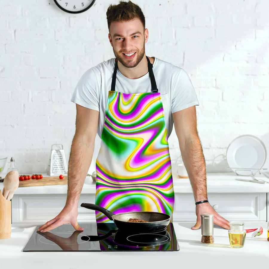 Abstract Holographic Liquid Trippy Print Men's Apron GearFrost