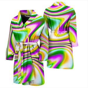 Abstract Holographic Liquid Trippy Print Men's Bathrobe GearFrost