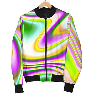 Abstract Holographic Liquid Trippy Print Men's Bomber Jacket GearFrost