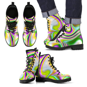 Abstract Holographic Liquid Trippy Print Men's Boots GearFrost