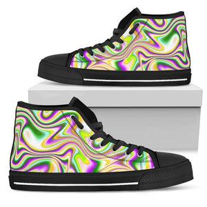 Abstract Holographic Liquid Trippy Print Men's High Top Shoes GearFrost