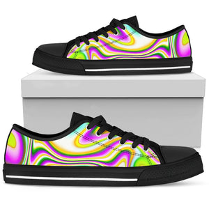 Abstract Holographic Liquid Trippy Print Men's Low Top Shoes GearFrost