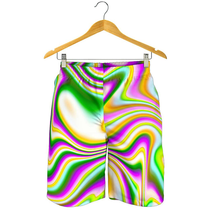 Abstract Holographic Liquid Trippy Print Men's Shorts GearFrost