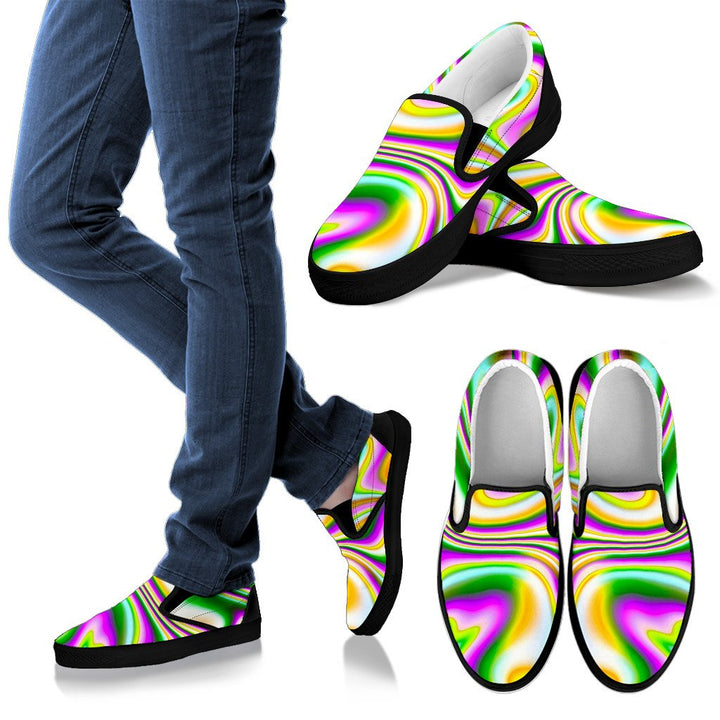 Abstract Holographic Liquid Trippy Print Men's Slip On Shoes GearFrost