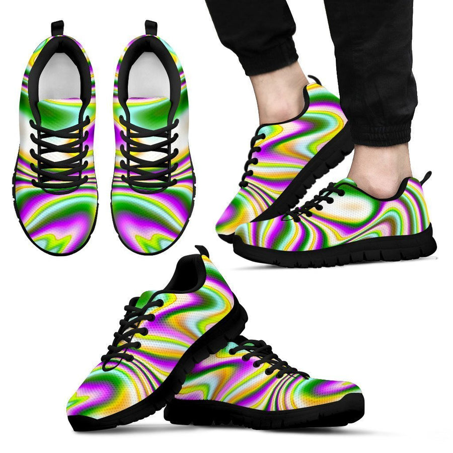 Abstract Holographic Liquid Trippy Print Men's Sneakers GearFrost