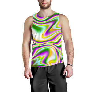 Abstract Holographic Liquid Trippy Print Men's Tank Top GearFrost