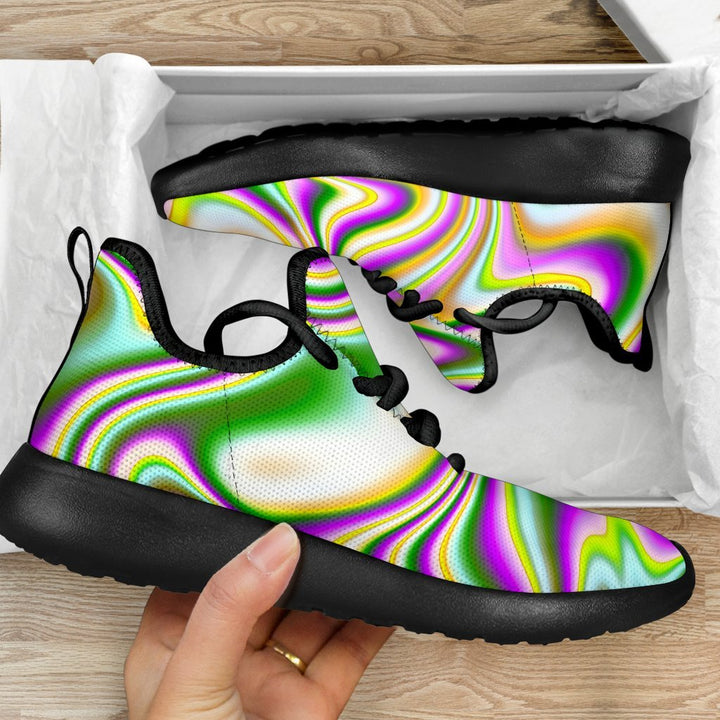 Abstract Holographic Liquid Trippy Print Mesh Knit Shoes GearFrost