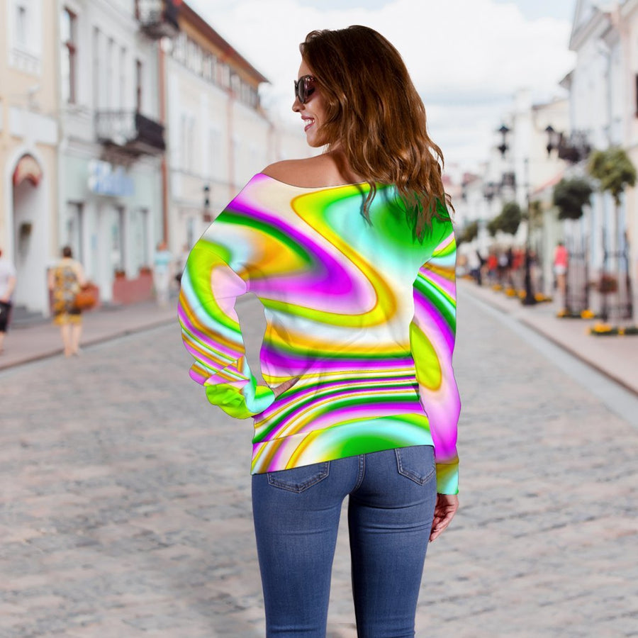 Abstract Holographic Liquid Trippy Print Off Shoulder Sweatshirt GearFrost
