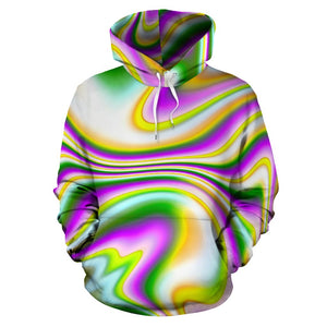Abstract Holographic Liquid Trippy Print Pullover Hoodie GearFrost