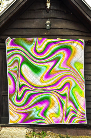 Abstract Holographic Liquid Trippy Print Quilt GearFrost