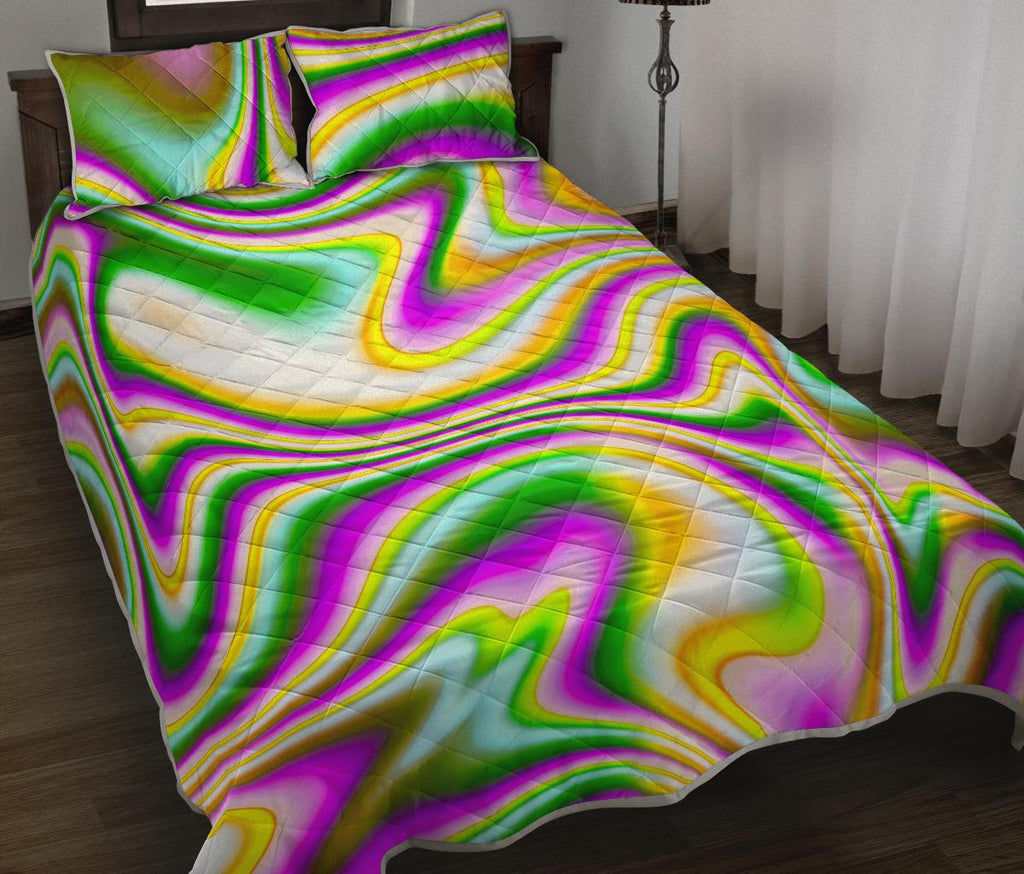Abstract Holographic Liquid Trippy Print Quilt Bed Set GearFrost