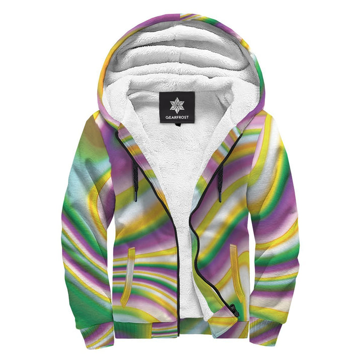 Abstract Holographic Liquid Trippy Print Sherpa Lined Fleece Hoodie GearFrost