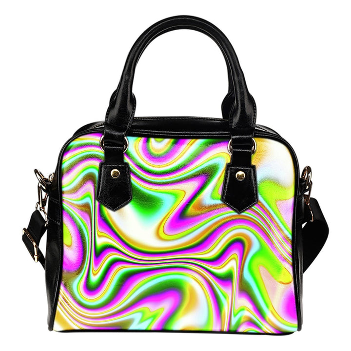 Abstract Holographic Liquid Trippy Print Shoulder Handbag GearFrost