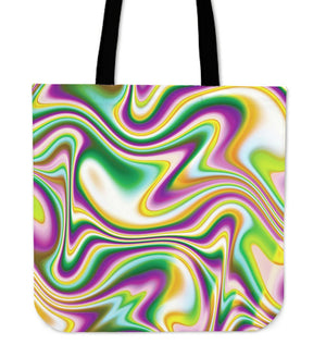 Abstract Holographic Liquid Trippy Print Tote Bag GearFrost