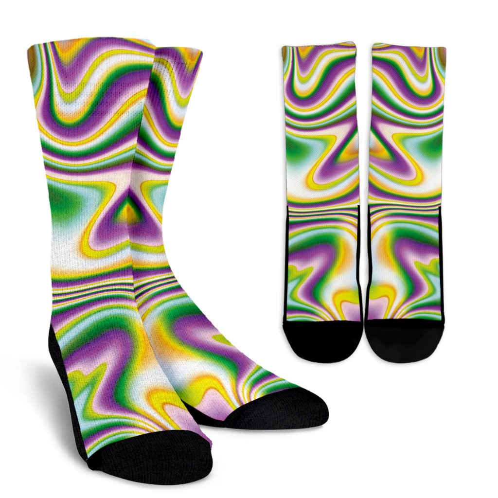 Abstract Holographic Liquid Trippy Print Unisex Crew Socks GearFrost