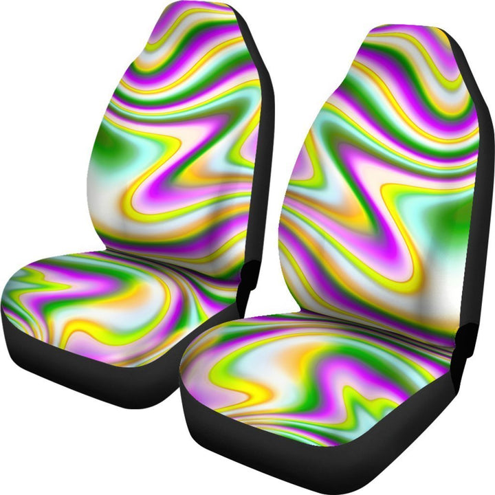 Abstract Holographic Liquid Trippy Print Universal Fit Car Seat Covers GearFrost