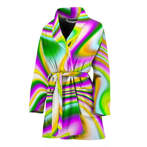 Abstract Holographic Liquid Trippy Print Women's Bathrobe GearFrost