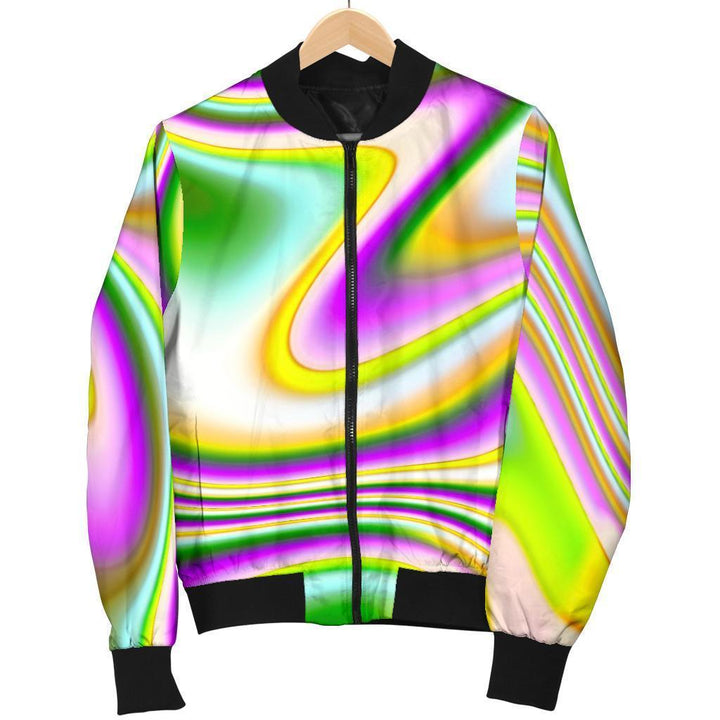 Abstract Holographic Liquid Trippy Print Women's Bomber Jacket GearFrost