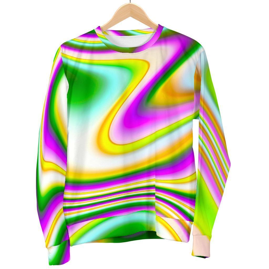 Abstract Holographic Liquid Trippy Print Women's Crewneck Sweatshirt GearFrost