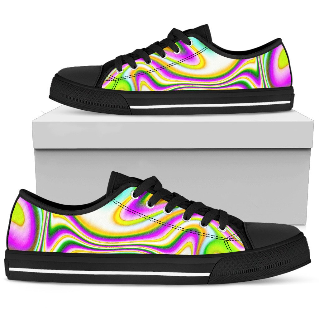 Abstract Holographic Liquid Trippy Print Women's Low Top Shoes GearFrost