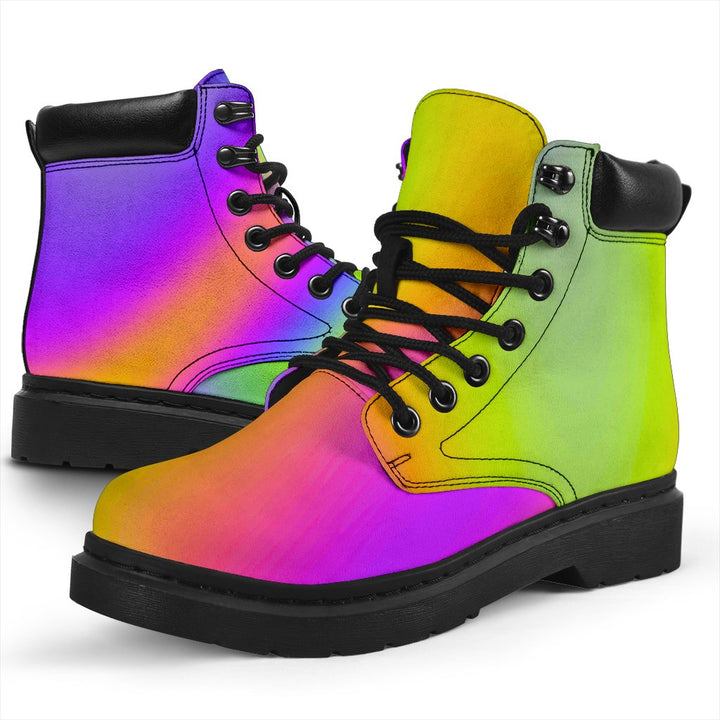 Abstract Holographic Trippy Print All Season Boots GearFrost