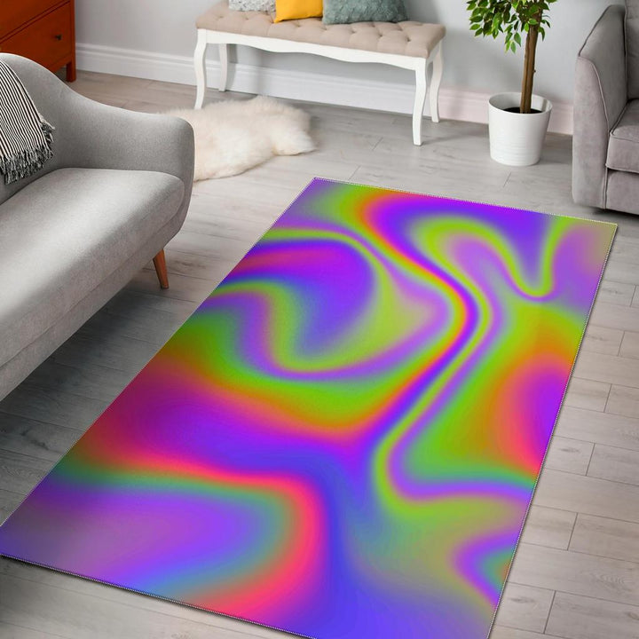 Abstract Holographic Trippy Print Area Rug GearFrost