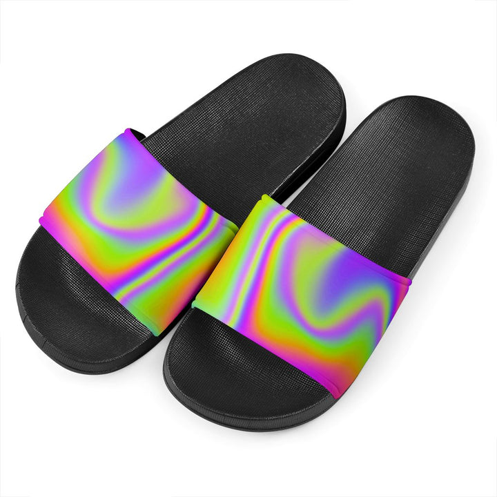 Abstract Holographic Trippy Print Black Slide Sandals GearFrost