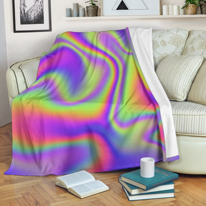 Abstract Holographic Trippy Print Blanket GearFrost