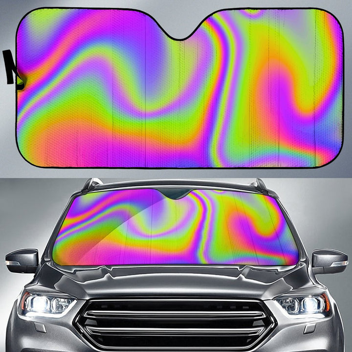 Abstract Holographic Trippy Print Car Sun Shade GearFrost